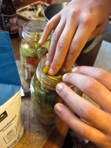 Packing pickled peppers